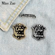 Carpe Noctem Enamel Pin Custom Black Carpe Diem Brooch Badge Bag Shirt Lapel Pin Buckle Punk Gothic Jewelry Gift for Friends