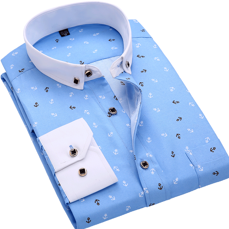 Men Shirt Long Sleeve Floral Printing Plaid Fashion Pocket Casual Shirts 100% Polyester Soft Comfortable Men Dress Shirt DS375 8