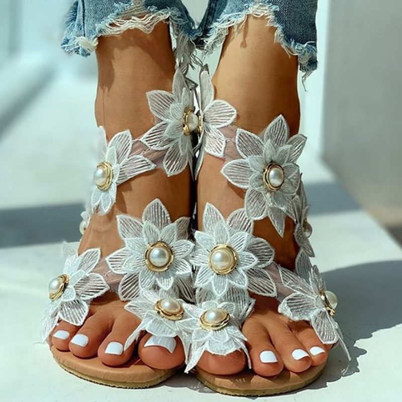 Summer 2020 Ladies Shoes New Ladies Sandals White Floral Flat Sandals Bohemian Casual Beach Shoes Women