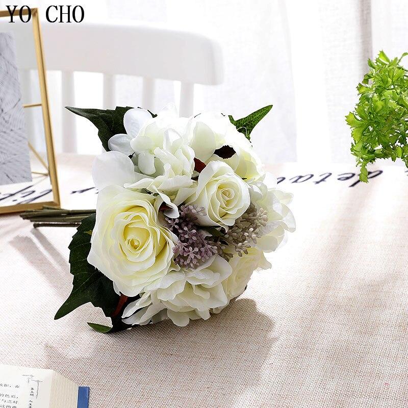 YO CHO свадебный букет, искусственный Шелковый цветок розы, букет невесты, подружки невесты, домашний свадебный цветок, бордовый, свадебные ак...