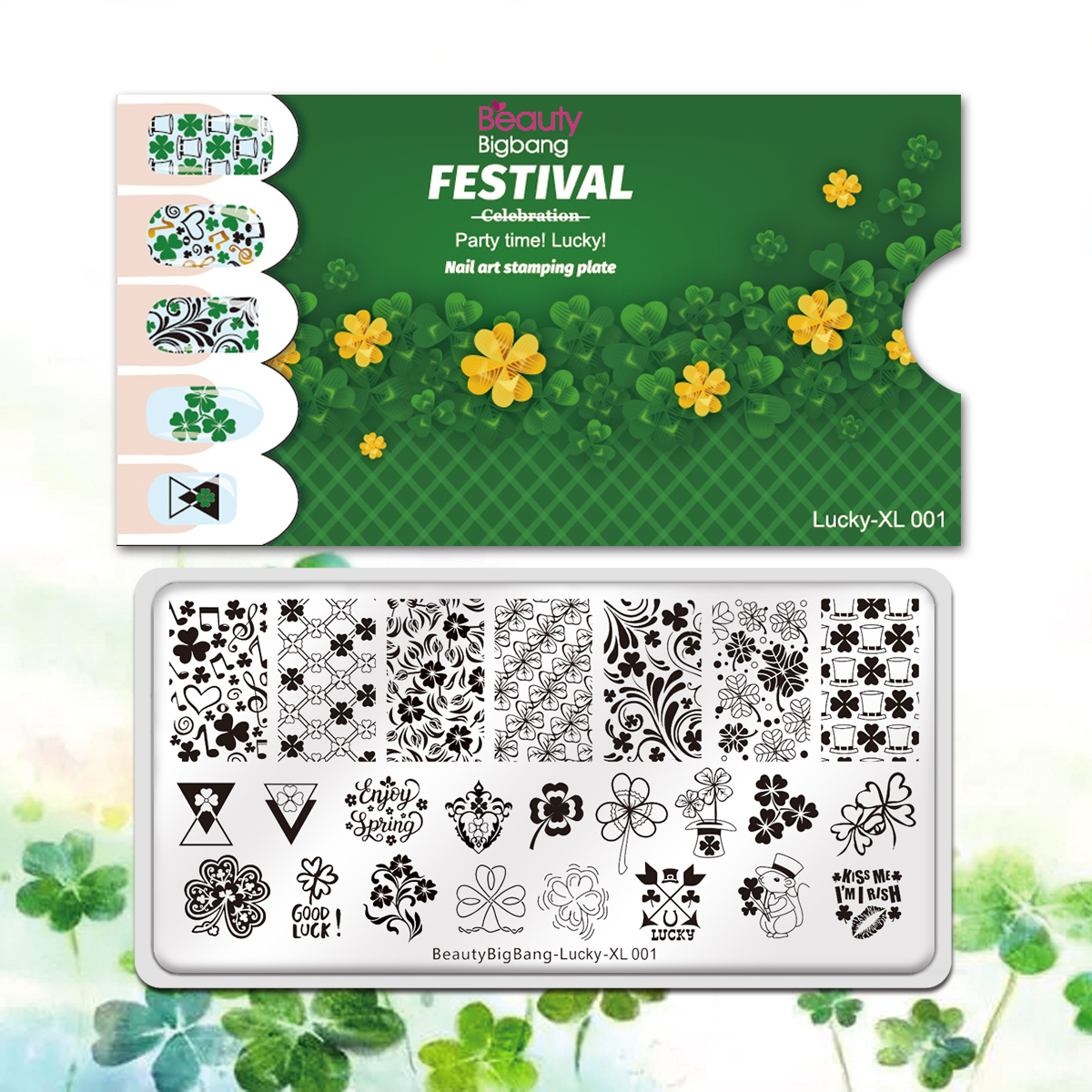 BeautyBigBang Nail Stamping Plate Rectangle Patrick Day Green Four-leaf Clover Lucky Theme Nail Art Accessories Stencil Template