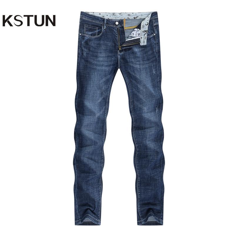 Men's Jeans 2020 Summer Denim Pants Slim Straight Elastic Soft Blue Regular Fit Leisure Long Trousers Famous Brand Jean Hombre