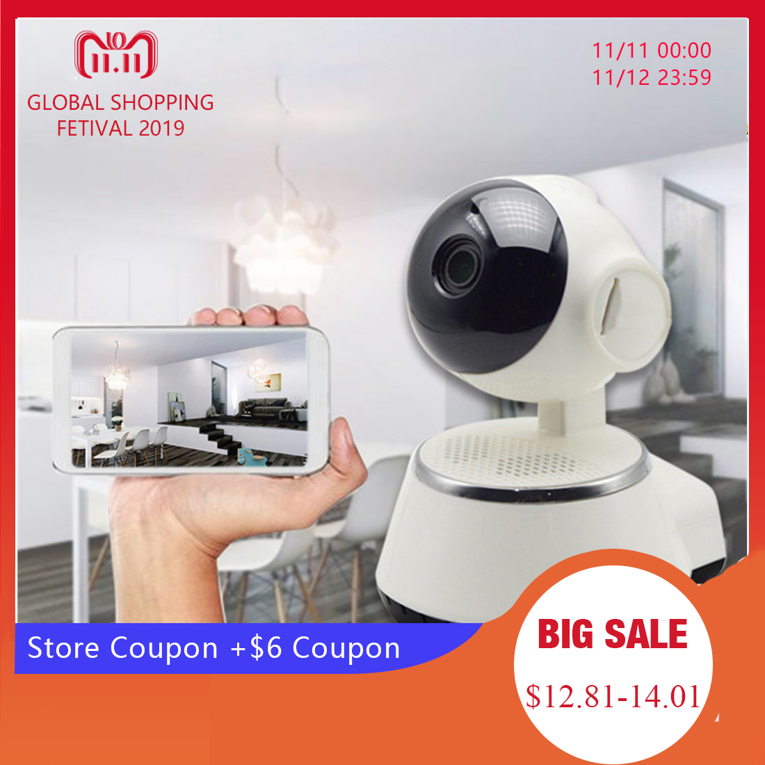 CYSINCOS Home Video Camera 720P HD WiFi IP Camera Wireless  Control Security  Night Vision Camcorder Home Baby Monitor Camera