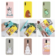 for Coque Samsung A7 A9 2018 Case Cover Kawaii Unicorn Stand Holder Silicone on Galaxy A6 Plus Phone
