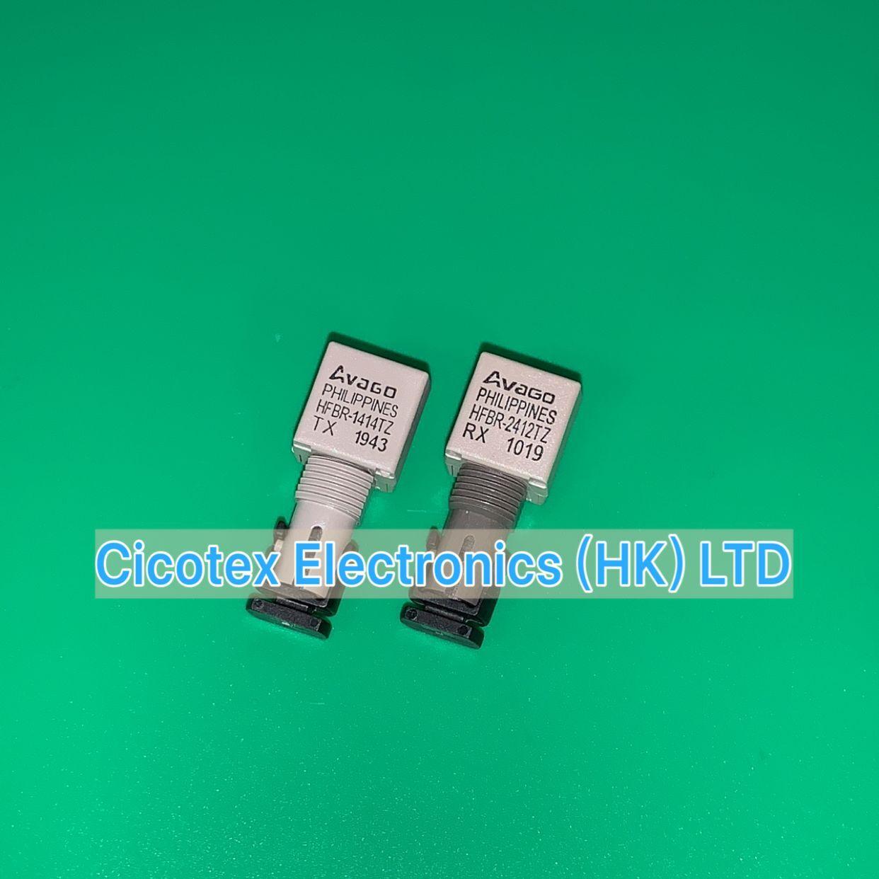 2pcs/pairs HFBR-1414TZ & HFBR-2412TZ ZIP-8 HFBR1414 XMITTER FIBER OPTIC HIGH PWR ST & HFBR2412 RECEIVER FIBER OPTIC 5MBD TTL ST