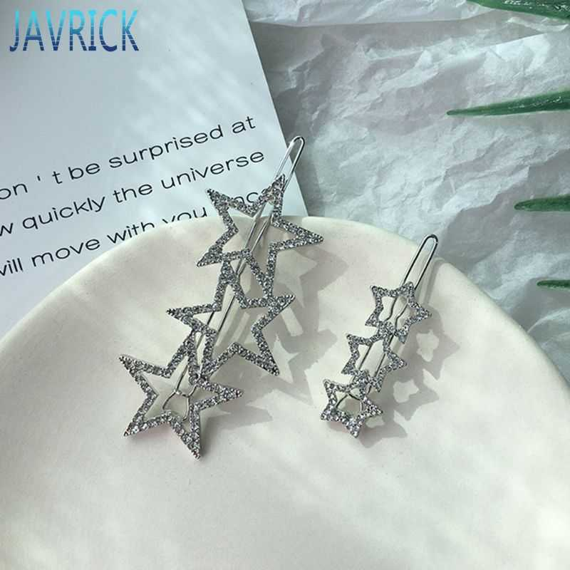 Koreaanse Stijl Vrouwen Meisjes Hollow Out Star Shape Hair Clips Glitter Strass Decor Bobby Pins Faux Crystal Pentagram Haarspelden