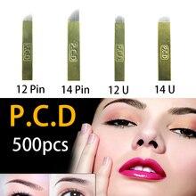500 stuks PCD 12Pins Lamina Nano Blade Premium 12 Harde 0.25mm Permanente Make Up Microblading Naald Voor Tobori Pen