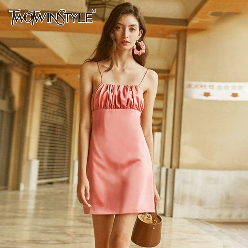 TWOTWINSTYLE Elegant Summer Dress Women Square Collar Sleeveless Spaghetti Strap High Waist Mini Dresses For Female Fashion Tide