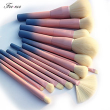 Gradient Color Pro 14pcs Makeup Brushes Set Cosmetic Powder Foundation Eyeshadow Eyeliner Brush Kits Make Up Brush Tool(China)