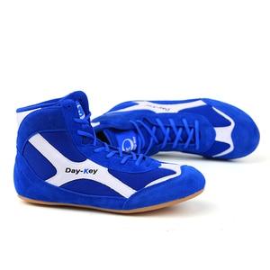 Zapatos de lucha de boxeo de cuero suave para hombre y mujer, botas de combate de entrenamiento, zapatos de artes marciales, suela de goma, calzado para levantamiento de potencia