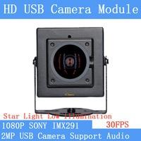Industry Plug Play Star Light Low illumination 2MP 1920*1080P SONY IMX291 Webcam Linux UVC MJPEG 30FPS USB Camera with Case