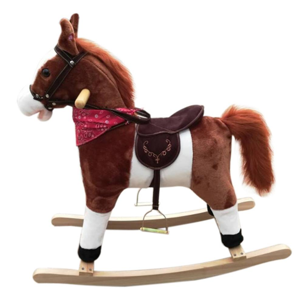 Kids Plush Ride On Pony Rocking Horse Wooden Toy With Neigh Sound Dark Brown Riding Animal Toy Christmas Gift