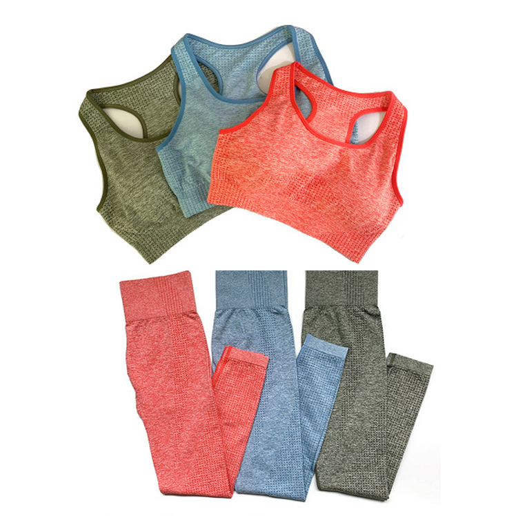 2PCS  Seamless Yoga Set Fitness Sport Suits Gym Set Clothing Crop Top Shirts + High Waist Running Leggings Pants Yoga Suit