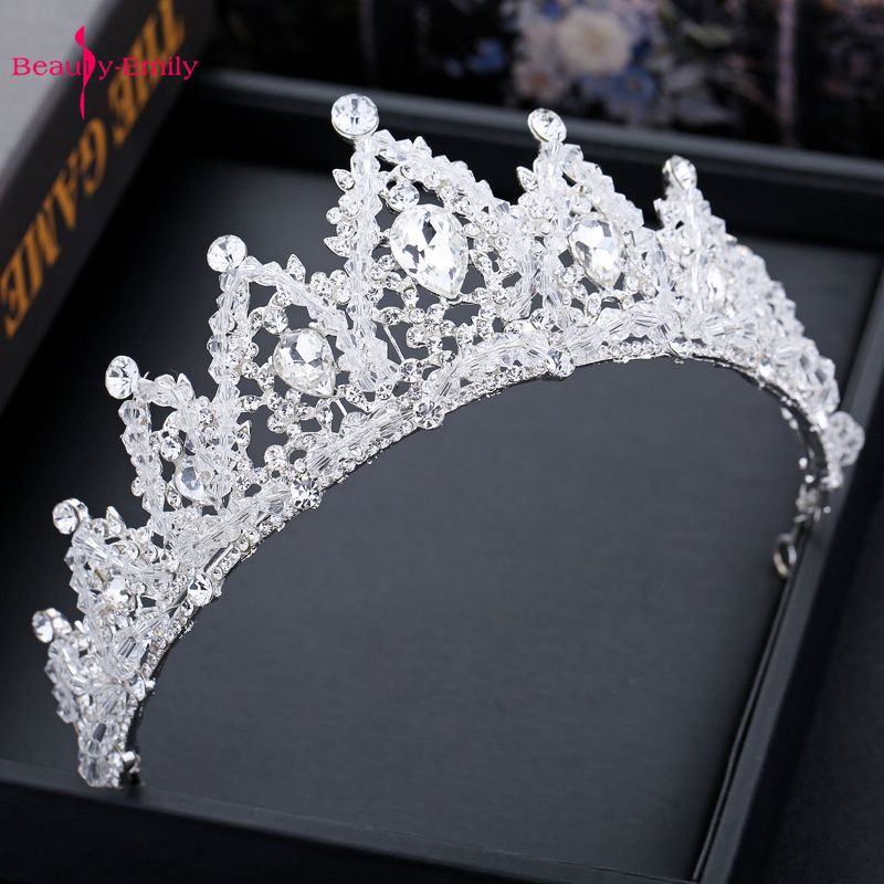 Beauty-Emily Crystal Crown For Wedding Rhinestones Bridal Headwear Princess Hair Accessories Headband 2019