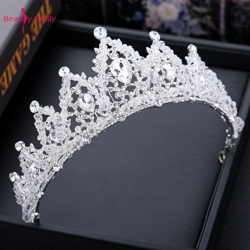 Beauty-Emily Crystal Crown For Wedding Rhinestones Bridal Headwear Princess Hair Accessories Headband 2019