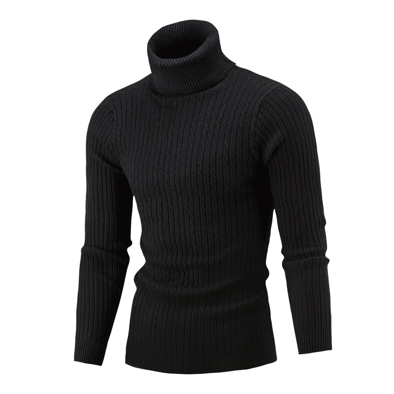 Newest Men Fashion Casual Autumn Winter Warm Solid Color Turtleneck Knit Tops Male Long Sleeve Pullover Sweater