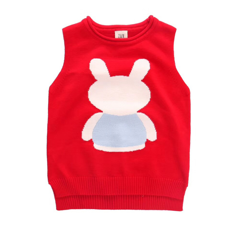 2019-Childrenswear CHILDREN'S Sweater Cartoon Bunny Core-Spun Yarn Pullover Sleeveless Knitted Vest