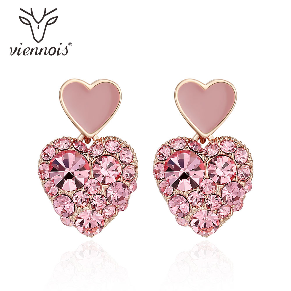 Viennois Fashion Heart Square Dangle Earrings For Women Rhinestone Pink/ Black Crystal Drop Earrings Female Chic Jewelry
