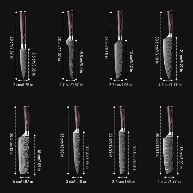 DEKO-cuchillos de Chef profesionales afilados, Juego de cuchillos de cocina, 4CR13, Damasco deshuesado, japonés, 7CR17, 440C, acero inoxidable de alto carbono 4