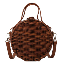 Round Women Handbag Handmade Beach Straw Bag Female Shoulder Small Messenger Bags Rattan Weaving Designer Summer Beach Bag Tote