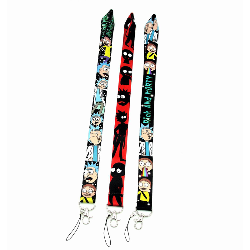 Rick And Morty Cosplay Prop Accessories Cell Phone Neck Strap ID Lanyards Key Chain Key Rings
