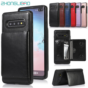 Card Holder Wallet Case for Samsung Note 10 9 8 S10 S9 S8 Plus + S10e Magnetic Luxury Leather Stand Shockproof Protective Cover|Wallet Cases| |  -