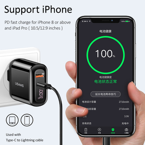 Image 3 - USAMS 18W PD Charger 3.0 USB Charger 3A Fast Charging EU US Plug Adapter Wall Mobile Phone Charger For iPhone x Samsung S10