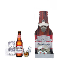 Beer Bottle Opener Creative High-grade Wooden Wall-mounted Budweiser Metal Zinc Alloy Set