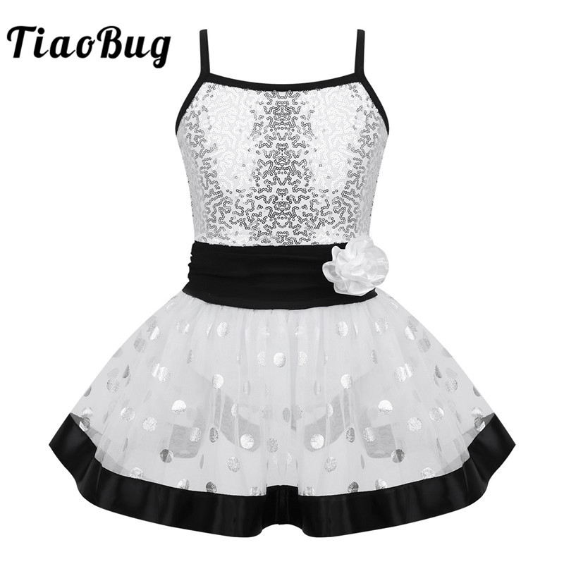 <font><b>TiaoBug</b></font> Kids Spaghetti Straps Sequin Flower Polka Dots Mesh Girls Tutu Ballet Dress Gymnastics Leotard Performance Dance Costume image