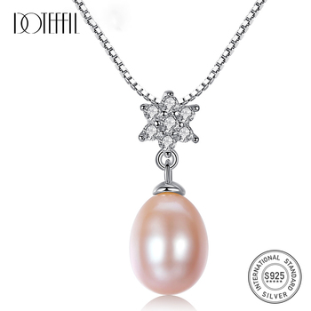 DOTEFFIL New Arrivals Necklace Natural Freshwater Pearl Pentagonal Pendant 925 Solid Silver Necklace Pearl Jewelry Women Gift s925 pure silver necklace 9 9 5mm natural freshwater pearl pendant jewelry wholesale for women wedding gift
