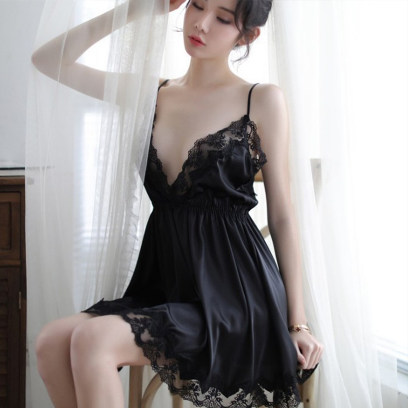 2020 High Quality Hot Sexy Lingerie Nightgown Underwear Lace Embroidery Seduction Women Nightwear Sling Back Cross Night Dress 3