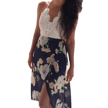 Aproms Women Summer Dresses Sexy V-Neck White Lace Patchwork Floral Party Dress  Sundresses Long Chiffon Beach Dress 2020 2