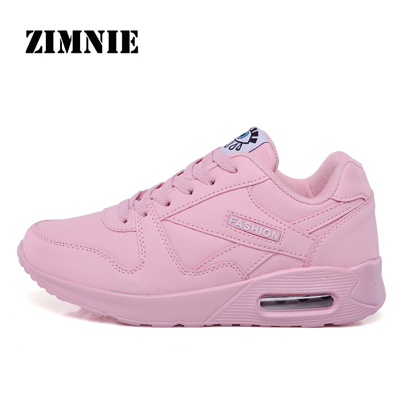 ZIMNIE Large Size 35~44 Woman Pu Leather Running Shoes Summer Breathable Light Soft Outdoor Sports Walking Jogging Sneakers