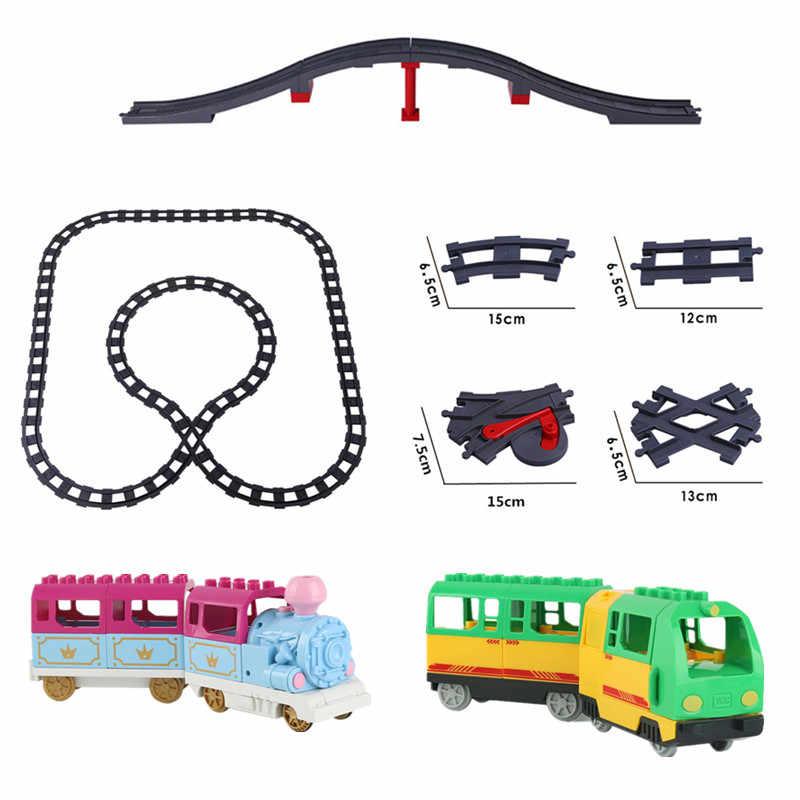 Duploed רכבת כוח פונקצית DIY אבני בניין רכבת מסלול אביזרי תואם עם לילדי ילדים מתנה