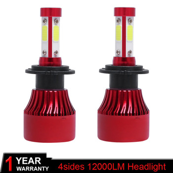 2X Auto Car Headlight Bulbs 4sides H4 LED H7 H11 H8 HB4 H1 H3 HB3 100W 12000LM Car Styling 6500K 4300K 8000K led automotivo image