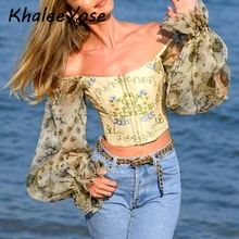 KHALEE YOSE Floral Vintage Blouse Shirt Chiffon Lantern Sleeve Crop Top Sexy Ruffle Off Shoulder Autumn Boho