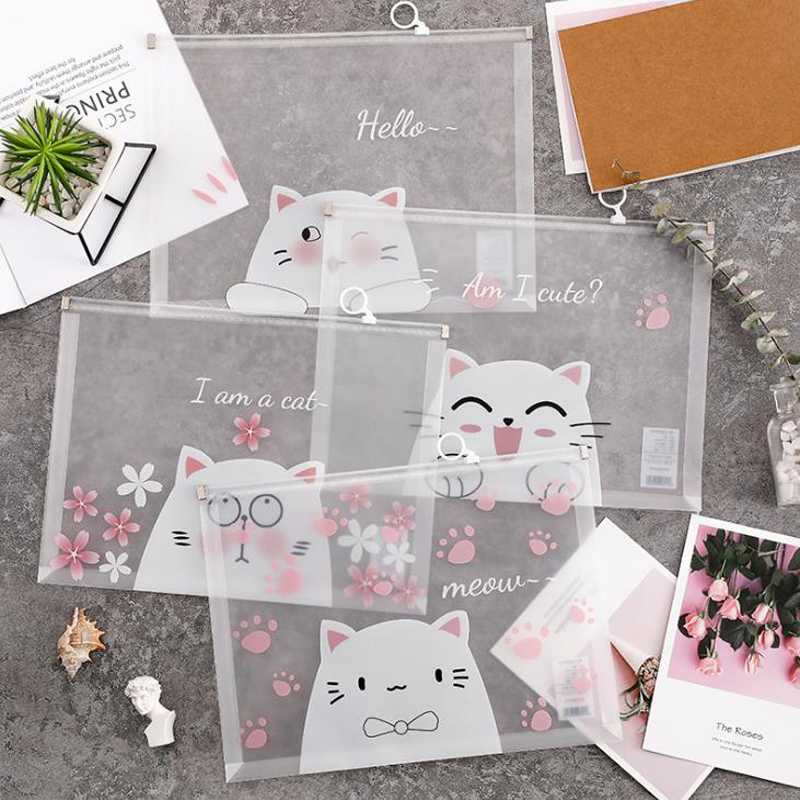 1 Pcs Cartoon A4 Cherry Blossoms Sakura Cat Transparent PP File Bag Document Bags File Folder Stationery Storage Organizer Gifts
