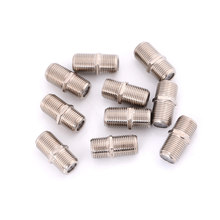 10 unids/bolsa de aleación de aluminio Joiner conector de barriles F macho adaptador de acoplador Plus HD TV coaxial Cable(China)