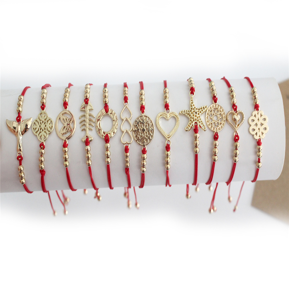 2019 Minimalist Lucky Red Rope <font><b>Bracelet</b></font> Handmade Woven <font><b>Adjustable</b></font> Alloy Accessories Bangles for Women men Jewelry wholesale image