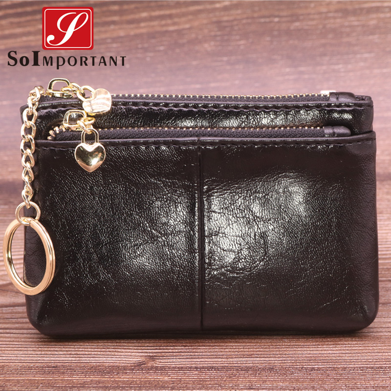 Fashion Women Wallets Coin Purses Genuine Oil Wax Leather Female Men Walet Magic Money Bags Short Slim Wallet With Key Ring
