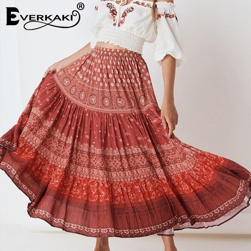 Everkaki Boho Floral Print Women Long Skirts Elastic Waist Red Vintage Bohemian Skirt Bottoms Lady Female 2019 Autumn New