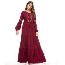 Женское платье с вышивкой повседневное свободное винного цвета