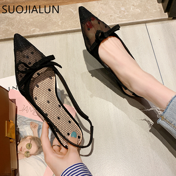 цена на SUOJIALUN 2020 New Fashion Mesh Sandal Bow Tie Flat Heels Sandal Ladies Pointed Toe Slip On Dress Slides Shoes zapatos de mujer