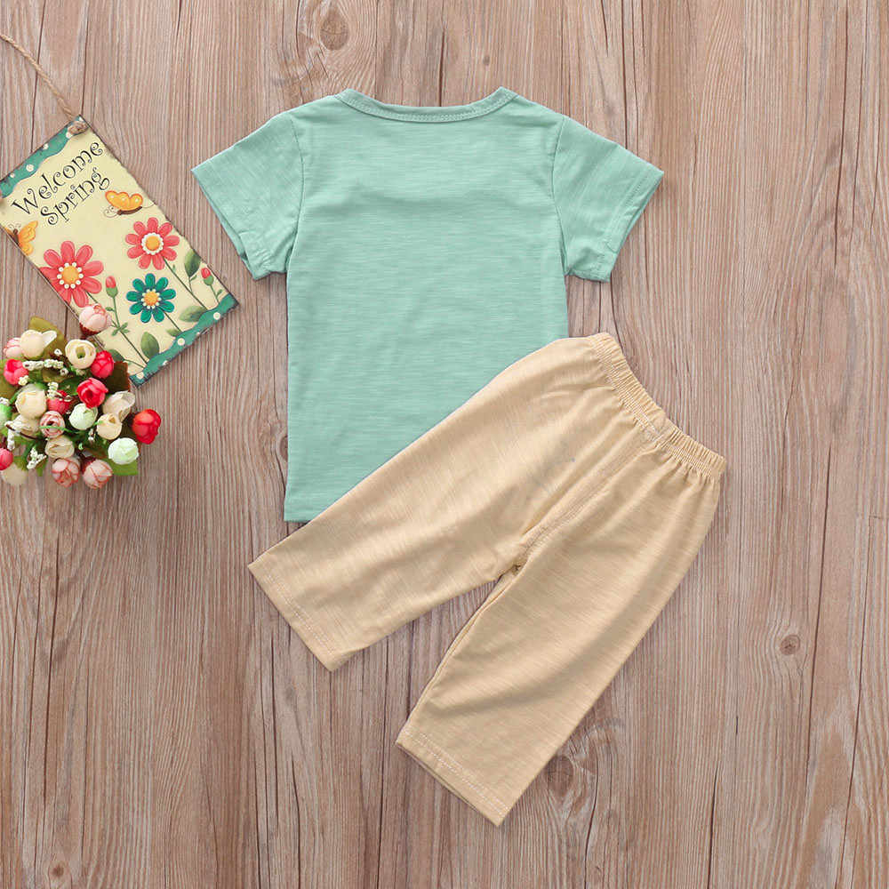 2PC ילדים פעוט בני בנות בגדים קצר שרוול עץ מודפס חולצה חולצות + מכתב מכנסיים תלבושות סטי ubrania dzieciece