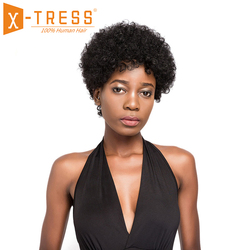 Afro Kinky Curly 6inch Short Bob Wigs For Women X-TRESS Natural Black Color African Hairstyle Brazilian Non Remy Human Hair Wig