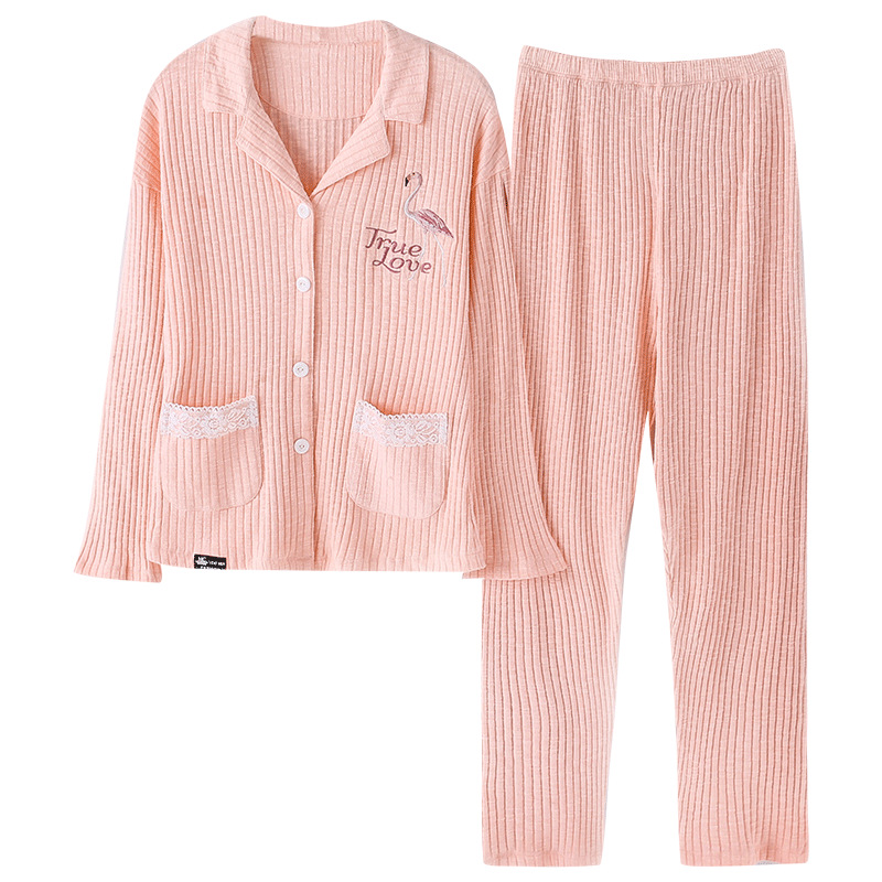 JULY'S SONG Women Winter Cotton Pajamas Set 2 Pieces Sleepwear Soft Flamingo Long Sleeves Women Autumn Casual Homewear