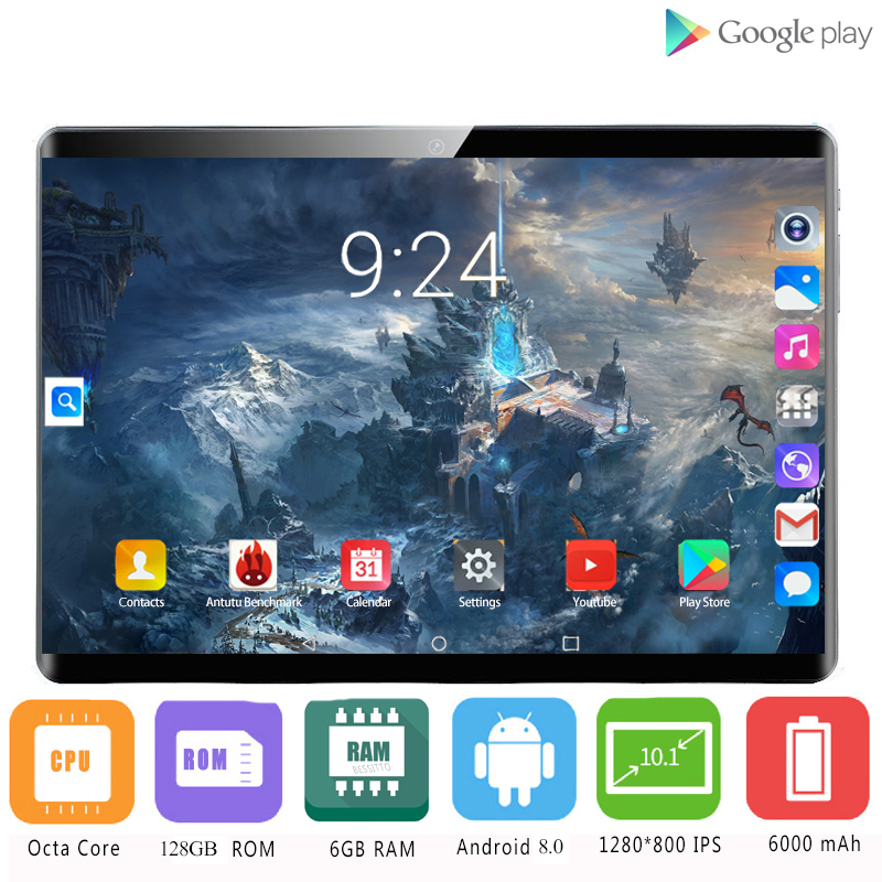 YAHU 6GB+128GB Original 10 Inch Tablet Pc 10 Core Android 8.0 1920*1200 IPS Curved Screen 8MP Camera 4G WIFI Tablets Kids Gifts