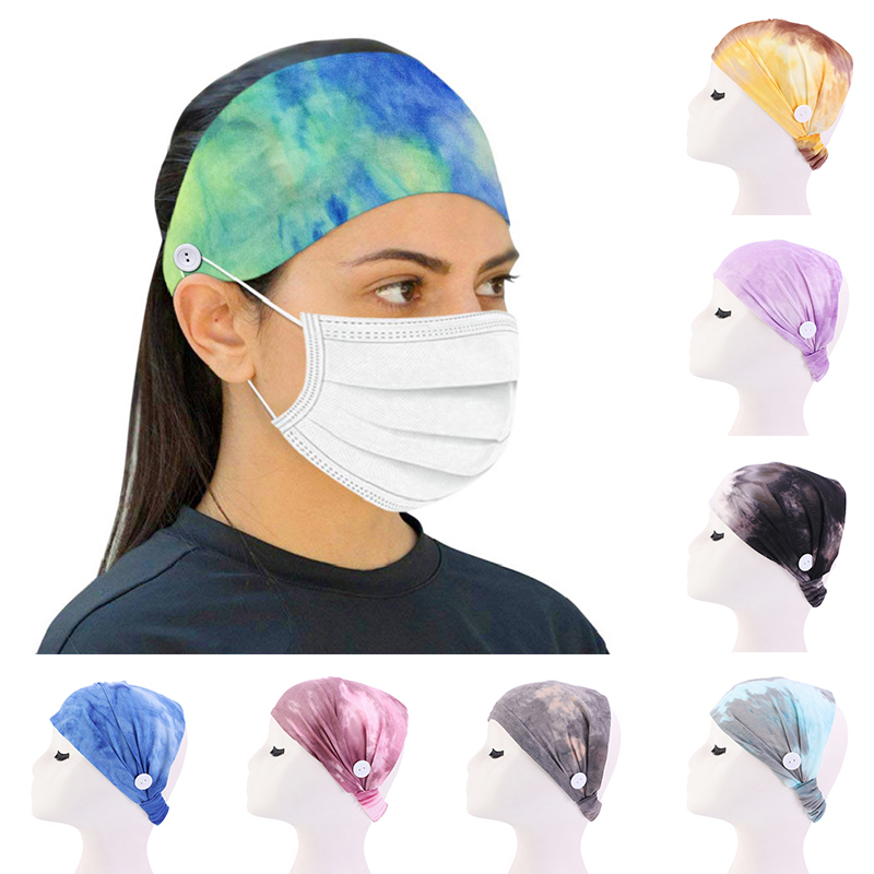 Tie Dye Headband Women Button Headbands Turban Anti-leak Mask Holder Hairband Girls Hair Accessories Solid Elastic Hair Bands(China)