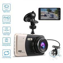 лучшая цена 4 Inch LCD Driving recorder IPS Dual Lens Car Dash Cam FHD 1080P Dashboard Camera 170 degree Driving DVR