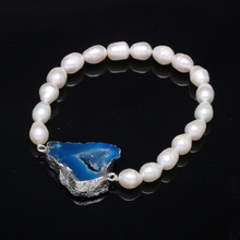 2020 Natural Freshwater Pearls Rice-Shaped Pearl Agates Beads Bracelets Jewelry Accessories Party For Women Gift length 19cm 2020 natural freshwater pearls rice shaped pearl agates beads bracelets jewelry accessories party for women gift length 19cm